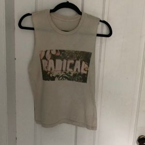 Cut off sleeveless cream T. Radical floral front